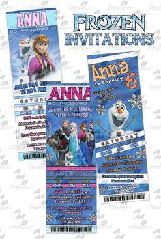 Disney's Frozen ticket Invitations - Party Supplies available. Custom Party Invitations, Frozen Invitations, Ticket Invitation, Party Plates, Party Cups, Diy Party, Party Ideas, Disney Frozen Party, Disney Scrapbook