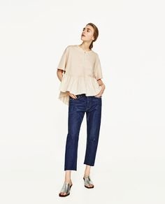 ZARA - WOMAN - ASYMMETRIC T-SHIRT WITH CONTRASTING FRILLS