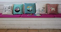 Poppy Treffry adorns home accessories, kitchen accessories, stationery and gifts with her freehand machine embroidered, see her cute cushions and tea towels