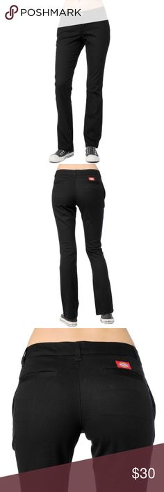 Dickies Girl Lowrider Skinny Straight Black Pant PRICE IS FIRM AND NON-NEGOTIABLE. NO OFFERS. NO TRADES. Brand new ORIGINAL Dickies Girl Lowrider Skinny in Black, size 7. Perfect basic staple for everyday, at work or at play. Dickies Pants Straight Leg