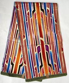 African Print Fabric/ Dutch Wax/ Ankara - Orange, Red, Gold 'Strokes of Genius' Design, YARD or WHOLESALE