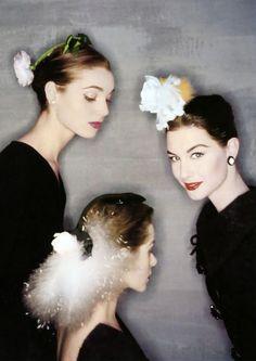 Elsa Martinelli, Candy Tanney and Nancy Berg in Balenciaga. Photo: Clifford Coffin, 1954.