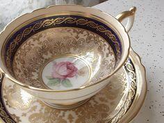 Antique Paragon pink rose tea cup and saucer, vintage 1950's blue and gold tea cup set, English tea set, bone china tea cup, wedding gift