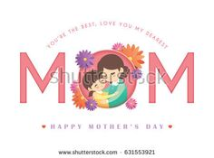 Happy Mother's Day greeting card with typographic design in paper cut style with blooming flowers isolated on white background. Vector illustration of cartoon mother and daughter hugging together.