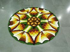 Onam Pookalam Design, Rangoli Designs Flower, Indian Rangoli, Rakhi, Marigold, Create, Flowers, Royal Icing Flowers, Flower