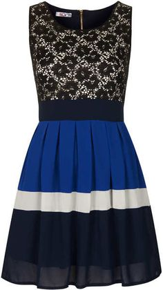 Lace Block Dress - Lyst