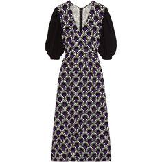 Miu Miu Printed crepe midi dress (12.138.615 IDR) ❤ liked on Polyvore featuring dresses, purple, loose sleeve dress, loose dresses, loose fitted dresses, calf length dresses and long-sleeve midi dresses