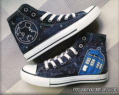Your Name in Gallifreyan 'Custom Converse' /  Doctor Who / Tardis 'Galaxy'