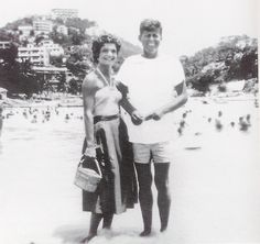 Mr. and Mrs. Jack Kennedy honeymooning in Acapulco, 1953