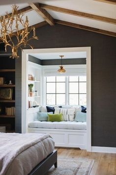 Are you looking for ideas for your window nook? We've got a collection of incredible window nook ideas and designs. Bedroom Nook, Bedroom Windows, Home Decor Bedroom, Bedroom Ideas, Master Bedroom, Bay Windows, Diy Bedroom, Bedroom Colors, Trendy Bedroom