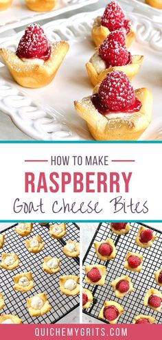 Raspberry Goat Cheese Bites start with a cream cheese and pesto goat cheese filling. They're stuffed into a crescent roll cup and topped with raspberry jam and a fresh raspberry. This delicious finger food makes the perfect appetizer for weddings, showers, birthdays and holiday parties of all kinds. | QuicheMyGrits.com Appetizers For Party, Appetizer Recipes, Snack Recipes, Dessert Recipes, Snacks, Dessert Bars, Mini Desserts, Sweet Desserts, Christmas Desserts