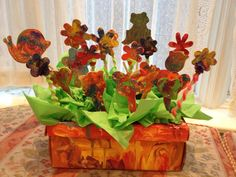 Shoebox Flower Garden!  Dollar store Crafts - Sparkles, glitter, paint, popsicle sticks, pipe cleaners, green napkins/tissue (can also use this idea for holidays like easter and thanksgiving)