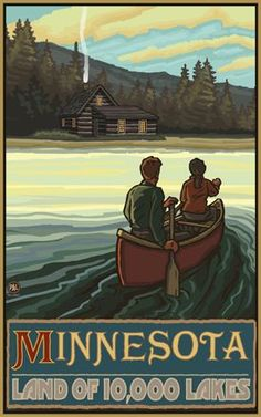 Minnesota - Land of 10,000 Lakes Vintage-style Poster