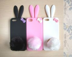 Cute Bunny Fluffy Tail with Bow Soft Silicone Iphone 5 Case Skin- 3 color to choose--Pink, black, white. $12,00, via Etsy.
