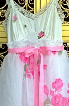 pink white & ivory floral chiffon lace by mermaidmisskristin, $175.00