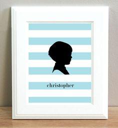 Rugby Stripe little boy Cameo silhouette. childrens art print.Personalized Nursery Print. Digital.Honeybunnykids