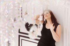 Lelyana Markina Photoghry White Studio Black and White Famous Studios Plus Size Model Curve Black Dress Crystal Daylight