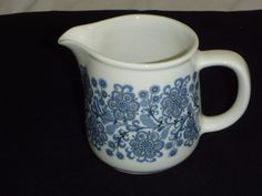 "Vtg Arabia of Finland Creamer Pitcher Jug Blue Black Floral Design 4"" Height #Arabia"