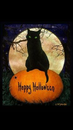 Happy Halloween to you and yours! Enjoy all the treats and none of the tricks! What is your favorite Halloween movie? Mine is Hocus Pocus! Retro Halloween, Halloween Tags, Halloween Chat Noir, Halloween Imagem, Image Halloween, Samhain Halloween, Holidays Halloween, Halloween Crafts, Halloween Decorations