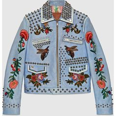 Gucci Embroidered leather jacket ($7,980) ❤ liked on Polyvore featuring outerwear, jackets, gucci, leather jacket, 100 leather jacket, blue jackets and real leather jacket