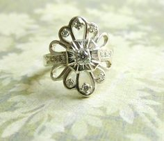 Gorgeous vintage Art deco ring made with heirloom diamonds