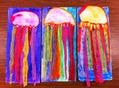 Kinder jelly fish Drip, Drip, Splatter Splash-/bubbles and Jellyfish Classroom Art Projects, School Art Projects, Art Classroom, Kindergarten Art, Preschool Art, First Grade Art, Grade 3, Jellyfish Art, Creation Art