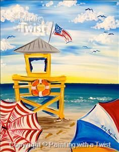 Siesta Key Lifeguard Stand - Sarasota, FL Painting Class - Painting with a Twist