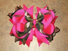 New HOT PINK CAMO Grosgrain Hairbow by BiancasBoutiqueBows on Etsy