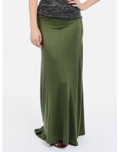 Maximize Me Fold Over Maxi Skirt  Army Green