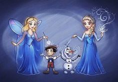 Blue Fairy and Pinocchio + Olaf and Elsa (from the Frozen) And this is probably the last Elsa in this year!D Pencil + Sai Previous works with Disney's. Blue Fairy and Elsa Disney And More, Disney Love, Disney Magic, Disney Frozen, Olaf Frozen, Disney Girls, Disney Style, Elsa Olaf, Disney And Dreamworks