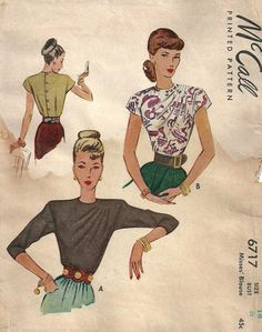 Vintage Forties Sewing Pattern From McCall 6717 Elegant Draped Blouse Size 14