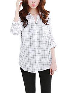 Women Point Collar Bust Pockets Tunic Shirts Black White XS uxcell http://www.amazon.com/dp/B00T2QSITI/ref=cm_sw_r_pi_dp_OOrjvb0G2GTAA