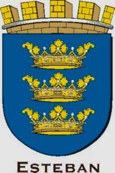 Esteban Family Crest Symbols, Banner, Crests, Coat Of Arms, Porsche Logo, Embroidery, Banner Stands, Needlepoint, Family Crest
