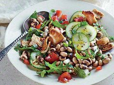 Southern Fattoush | The ubiquitous Israeli bread salad makes a fine gathering place for black-eyed peas and sweet Georgia onions. Whisk the salad dressing together in a bowl, or do as I do--shake all the ingredients together in (what else?) a mason jar.