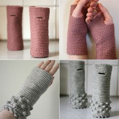 wrist warmers pretty and simple - imagine doing the decorations in a different colour Fleece Patterns, Loom Knitting Patterns, Hand Knitting, Crochet Patterns, Hat Patterns, Knitting Tutorials, Knitting Machine, Stitch Patterns, Crochet Wrist Warmers