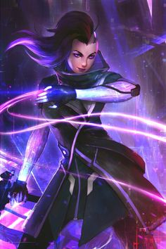 Sombra from overwatch Me Anime, Anime Manga, Fantasy Paintings, Fantasy Art, Character Concept, Character Design, Character Ideas, Overwatch Wallpapers, Overwatch Fan Art
