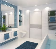 3D Bathroom Architecture Renders. For You Blue, Tree Branches, Tiles, Hobby, Art Pieces, Bathtub, Interior Design, Architecture, Bathroom Ideas