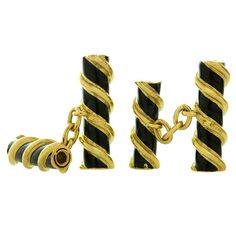 Tiffany & Co. Schlumberger Enamel Double-Sided Yellow Gold Cufflinks For Sale