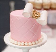 Mini Chanel-inspired cake, adorable for bridal shower...love, love, love for the shower!!!!