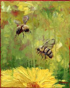 Either bee would work   Art Original Painting Bumble Bee No9 10x8. $65.00, via Etsy.