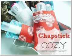 A cute little {CHAPSTICK COZY} at NorthernCottage.net - great gift idea to clip to your purse, keychain or kiddo's backpack!