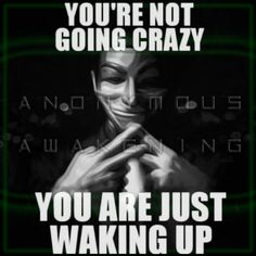You're not going crazy.  You are just waking up.  anonymous awakening.                                                                                                                                                                                 More