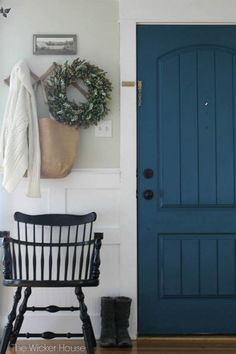 Door paint color: Night Scape by Valspar The Wicker House   Related Stories Tropical Oasis Front Door Paint Colors: Bowl of Berries and Valley Mist Wrought Iron: