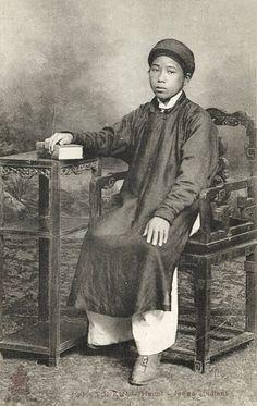 Indochina, TONKIN HANOI, Young Native Boy Student 1910s