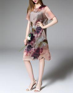 Pink Silk Floral Short Sleeve Shift Midi Dress