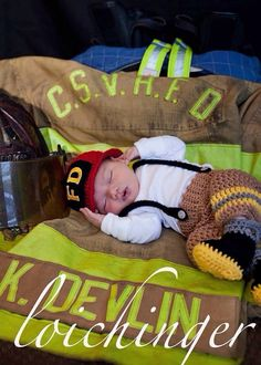 Newborn Baby Firefighter Fireman Hat Outfit, Toasted Almond and Yellow, 4 pc Pant Set w/Suspenders & Boots. Newborn Pictures, Baby Pictures, Baby Photos, Newborn Pics, Fireman Wedding, Fireman Hat, Fireman Outfit, Cute Babies, Baby Kids