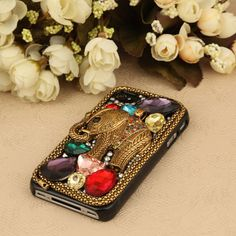Bling iPhone 4 case, iPhone 4s case - vintage bronze elephant gem studded