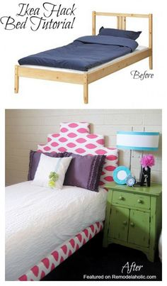 Ikea Hack Upholstered Bed Tutorial - this is pretty much exactly what we need to do, but i vote more padding on the front so you can't hit your head on the middle beams