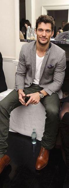 Grey Blazer, army green pants