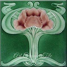 Amazon.com: Art Nouveau Ceramic Tile 6 Inches Reproducction #000002: Kitchen & Dining